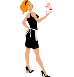 Cocktail waitress vector image vector image
