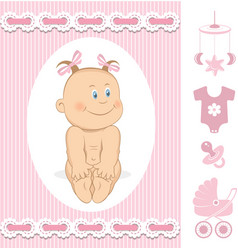 Cute baby girl vector image vector image