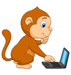 Cute monkey playing computer vector image vector image