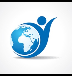 Eco people celebration icon with earth design vector image