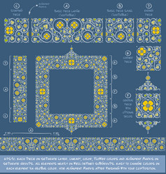 Flower decorative ornaments building kit - yellow vector