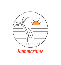 Summertime icon with thin line beach vector