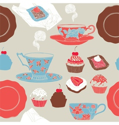 Tea and cupcakes Seamless pattern vector image