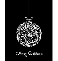 White Christmas ball on black background vector image vector image