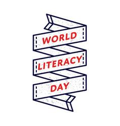 World literacy day greeting emblem vector