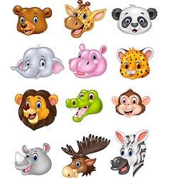 Cartoon wild animal head collection vector