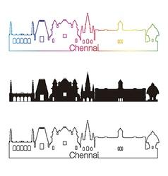 Chennai skyline linear style with rainbow vector image