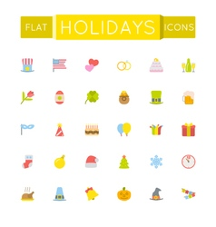 Flat holidays icons vector