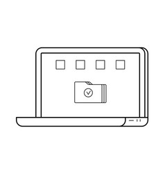 laptop line art simple gadget icon vector image vector image