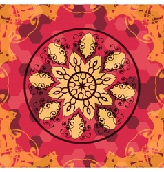 Mandala like lace in red colors vector image vector image
