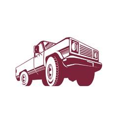 Pickup truck rear retro vector