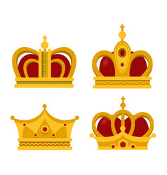 pope tiara and king crown set of icons vector image vector image