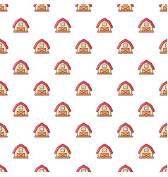 Red horse barn pattern seamless vector