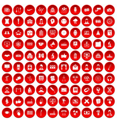 100 conference icons set red vector