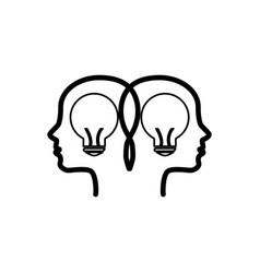 bulb light with profiles human isolated icon vector image