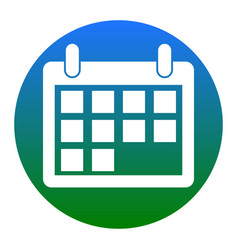 calendar sign white icon in vector image