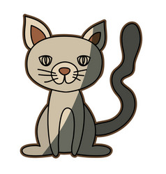colorful graphic of cat sitting vector image