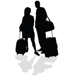 couple with a suitcase vector image