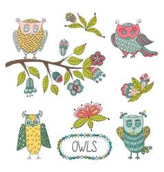 Cute cartoon owls flowers brunche vector image
