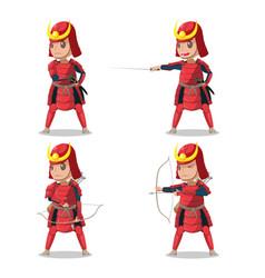 japan samurai red armor character vector image