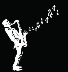 Musician playing the saxophone vector image vector image