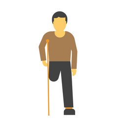 amputee faceless person on crutches vector image