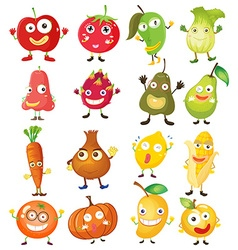 Fruit and vegetables with face vector image