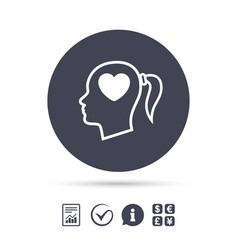 head with heart sign icon female woman head vector image