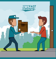 poster scene city landscape of fast delivery man vector image