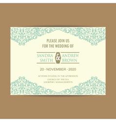 wedding invitation blue floral elem vector image