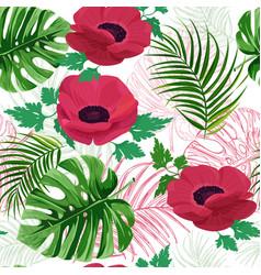 Anemone flower background seamless pattern vector
