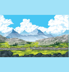 background of landscape with rocks and mountains vector image