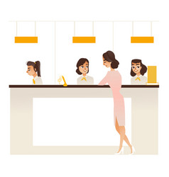 Banking service office concept girl at reception vector