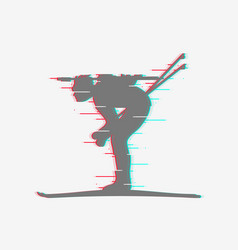 biathlete runs sprint icon with glitch effect vector image