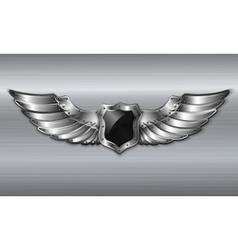 Black metal winged shield emblem vector image