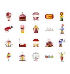 bundle circus fair set icons vector image