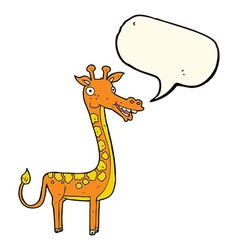 Cartoon giraffe with speech bubble vector