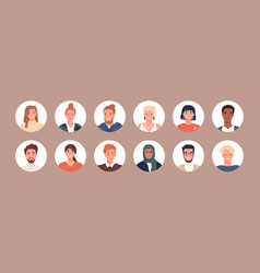 Circle avatars with young people s faces vector