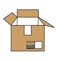 Color silhouette cartoon brown box of cardboard vector