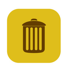 Color square with trash container icon vector