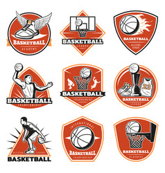 Colored vintage basketball labels set vector