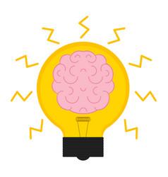 conceptual lightbulb icon with a brain vector image