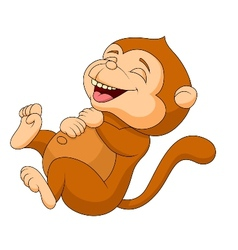 Cute monkey cartoon laughing vector