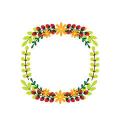 cute wedding wreath with flowers and branches vector image