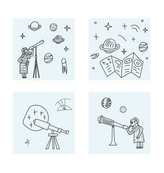 Design of astronomers and space objects vector