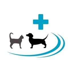 dog and cat silhouette on veterinary symbol vector image