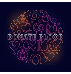 Donate blood colorful round vector