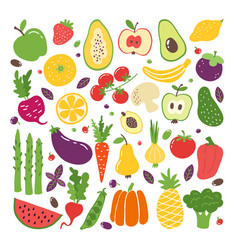 doodle flat fruits and vegetables hand drawn vector image