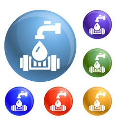 eco water tap icons set vector image
