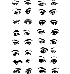 Eye Woman Set vector